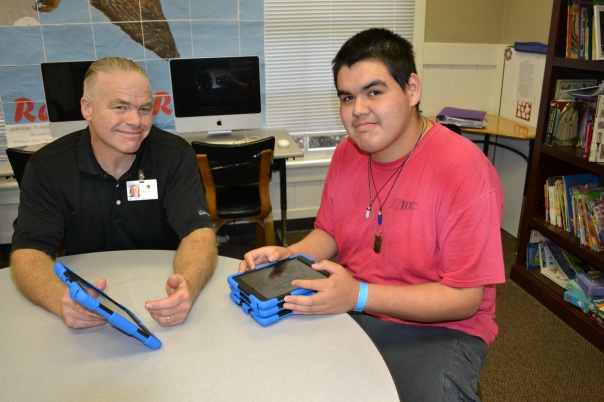 Rob Wherley (left) with one of the students at our Hillsides Education Center.