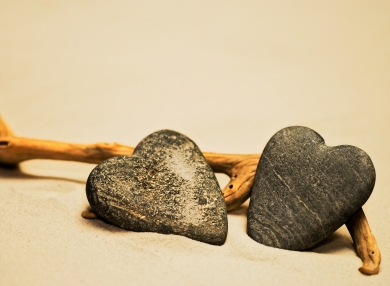 Two stone hearts